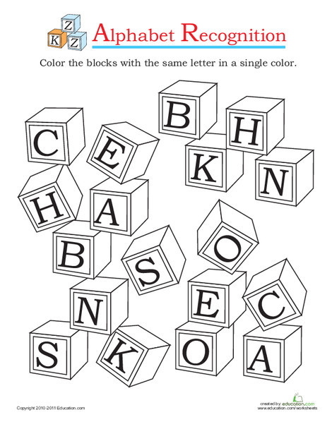 Preschool Reading & Writing Worksheets: Alphabet Recognition