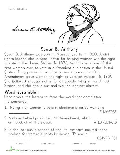 Second Grade Social studies Worksheets: Historical Heroes: Susan B. Anthony