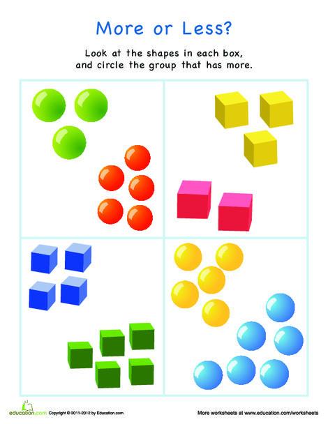 Preschool Math Worksheets: More or Less Shapes