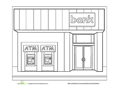 Preschool Coloring Worksheets: Paint the Town: Bank