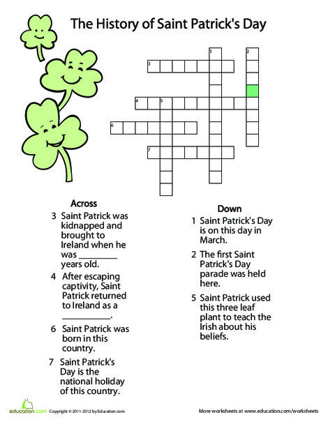 Fourth Grade Offline games Worksheets: St. Patrick's Day History