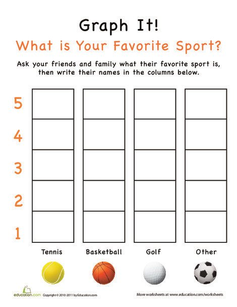 Kindergarten Math Worksheets: Graph It! What is Your Favorite Sport?