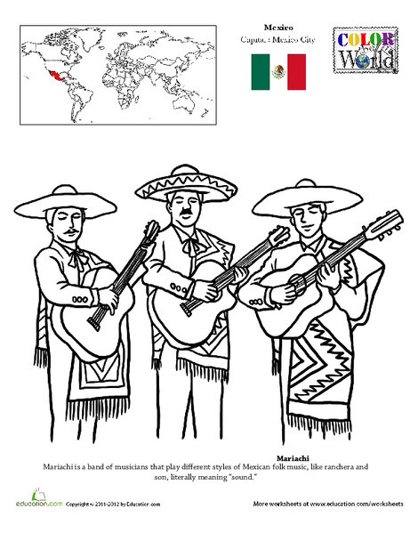 Second Grade Social studies Worksheets: Mariachi Coloring Page