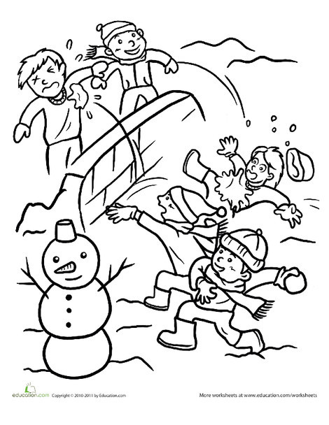 Second Grade Seasons Worksheets: Snowball Fight Coloring Page