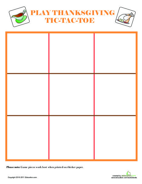 Kindergarten Holidays Worksheets: Play Thanksgiving Tic-Tac-Toe