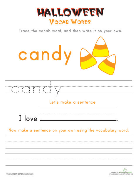 First Grade Reading & Writing Worksheets: Halloween Vocab Words: Candy