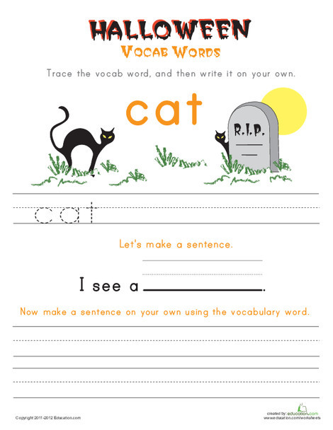 First Grade Reading & Writing Worksheets: Halloween Vocab Words: Cat