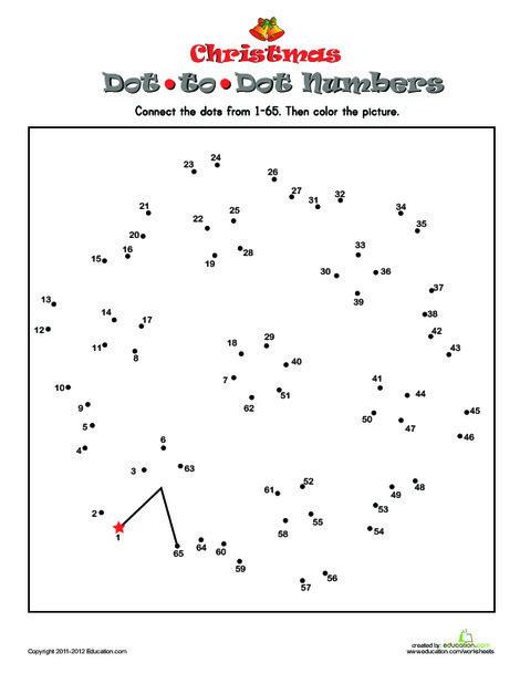 Kindergarten Math Worksheets: Snowflake Dot-to-Dot