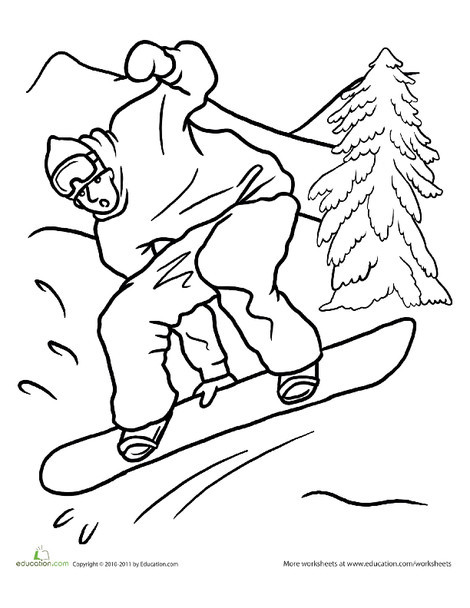 Kindergarten Seasons Worksheets: Snowboarding Coloring Page