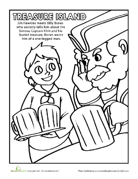 Second Grade Coloring Worksheets: Treasure Island Coloring Page