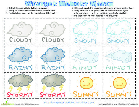 Preschool Offline games Worksheets: Weather Memory Game