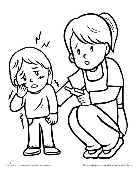 Preschool Coloring Worksheets: Color the Shivering Kid
