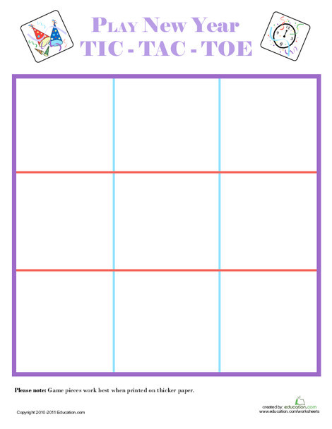 First Grade Offline games Worksheets: Tic-Tac-Toe into the New Year!