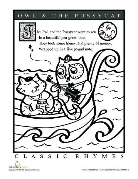 Preschool Coloring Worksheets: The Owl and the Pussycat