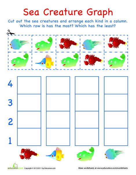 Kindergarten Math Worksheets: Cut-Out Graph: Sea Creatures