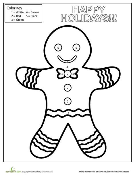 Kindergarten Holidays Worksheets: Gingerbread Man Color by Number