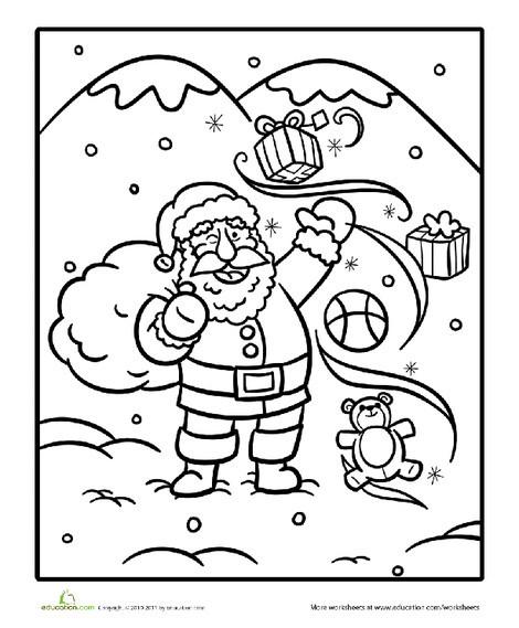Kindergarten Seasons Worksheets: Color Santa Magic