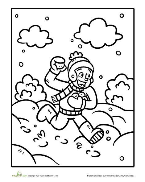 Kindergarten Holidays Worksheets: Color the Snowball Fighter