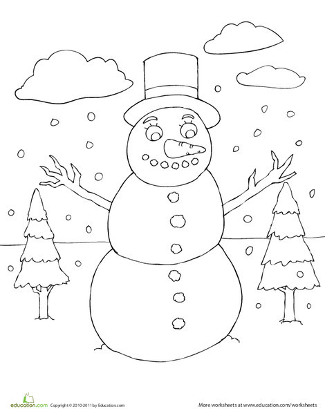First Grade Seasons Worksheets: Winter Snowman Coloring Page