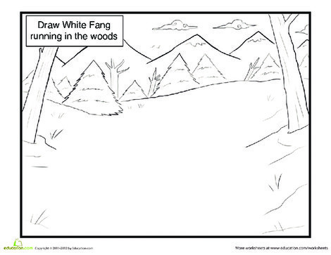 First Grade Coloring Worksheets: Draw White Fang