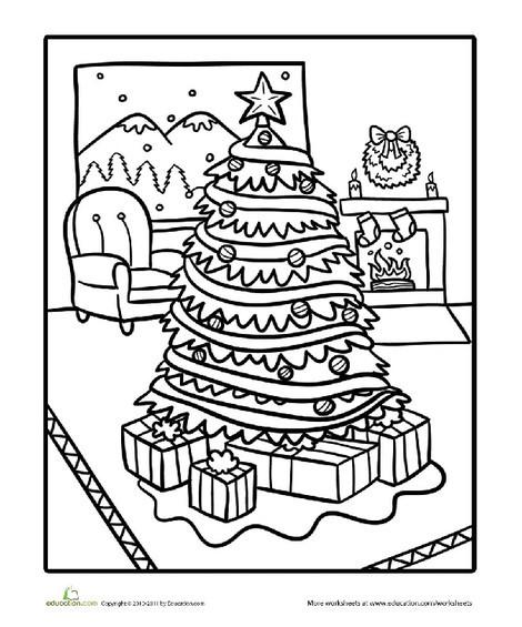 Kindergarten Seasons Worksheets: Living Room Christmas Scene