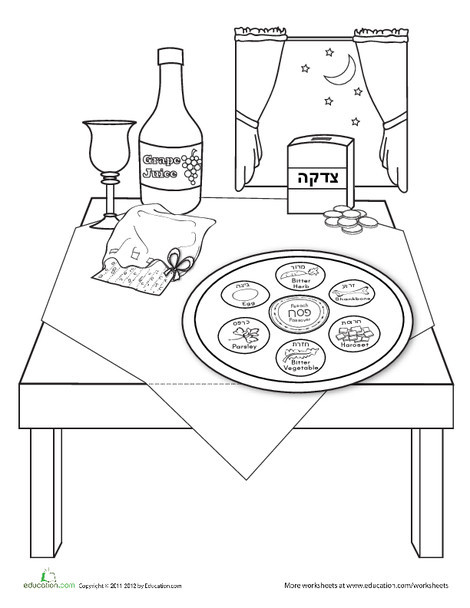 Kindergarten Holidays Worksheets: Passover Coloring Page