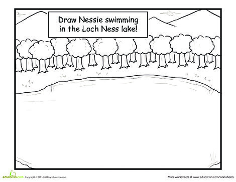 First Grade Coloring Worksheets: Draw the Loch Ness Monster