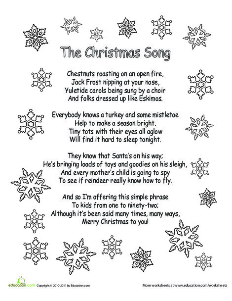 Kindergarten Holidays Worksheets: Color the Carol: The Christmas Song