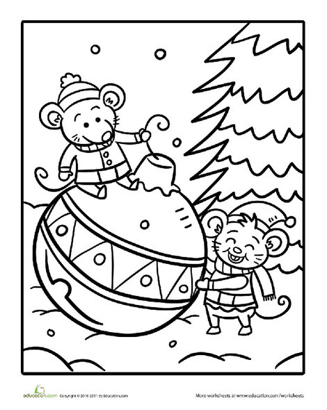 Preschool Holidays Worksheets: Color the Christmas Mice