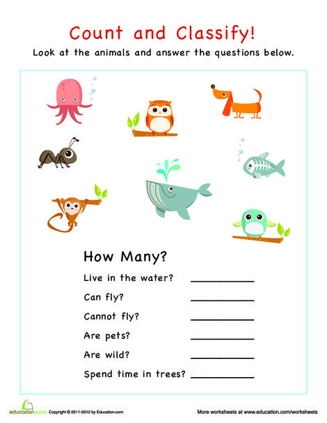 Preschool Math Worksheets: Count and Classify: Animals