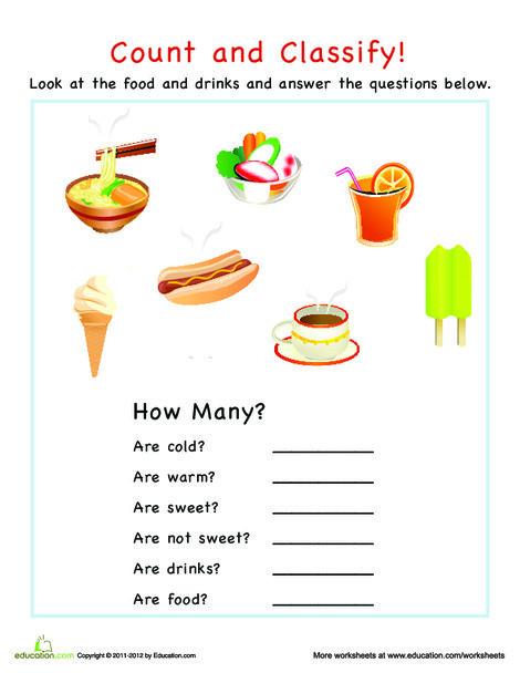 Preschool Math Worksheets: Categorization: Food