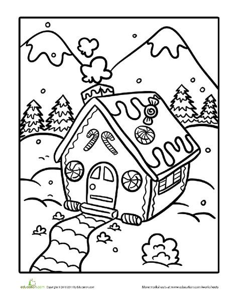 Kindergarten Seasons Worksheets: Color the Gingerbread House