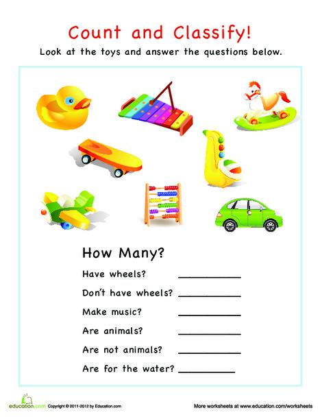 Preschool Math Worksheets: Categorization: How Many Toys?