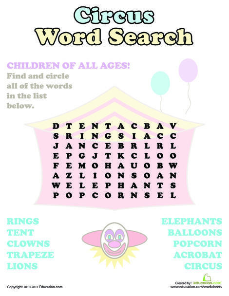 Second Grade Reading & Writing Worksheets: Circus Word Search