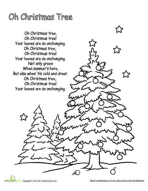 Kindergarten Holidays Worksheets: Oh Christmas Tree Lyrics