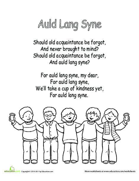 Kindergarten Holidays Worksheets: Auld Lang Syne Lyrics
