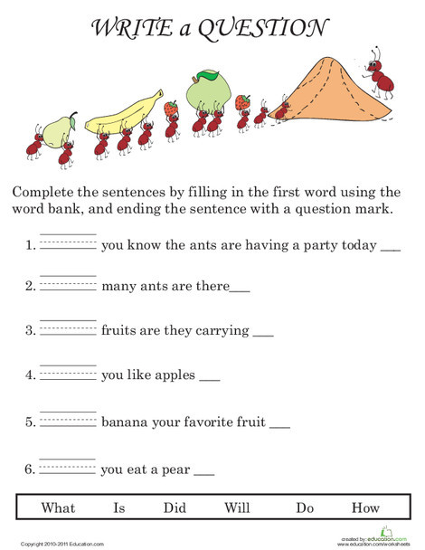 First Grade Reading & Writing Worksheets: Writing Questions