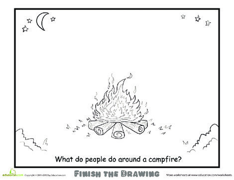 Second Grade Coloring Worksheets: Finish the Drawing: Campfire