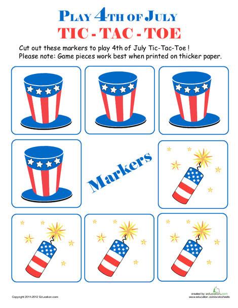Kindergarten Holidays Worksheets: 4th of July Tic-Tac-Toe #1