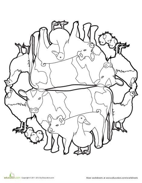 Kindergarten Coloring Worksheets: Animal Mandala