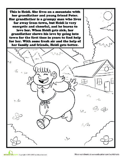 Second Grade Coloring Worksheets: Heidi Coloring Page