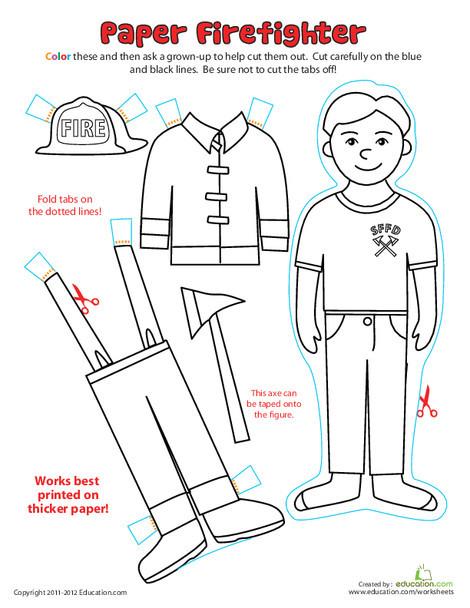 First Grade Coloring Worksheets: Paper Dolls: Fireman