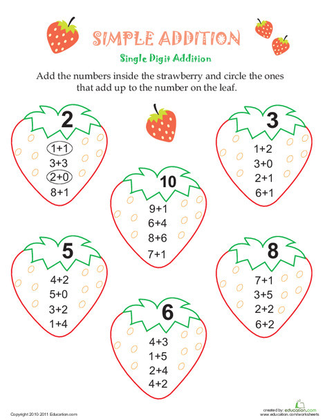 First Grade Math Worksheets: Simple Addition Strawberries