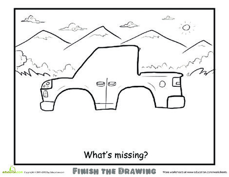 Second Grade Coloring Worksheets: Finish the Drawing: What's Missing?