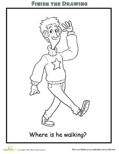 Second Grade Coloring Worksheets: Finish the Drawing: Where is he Walking?