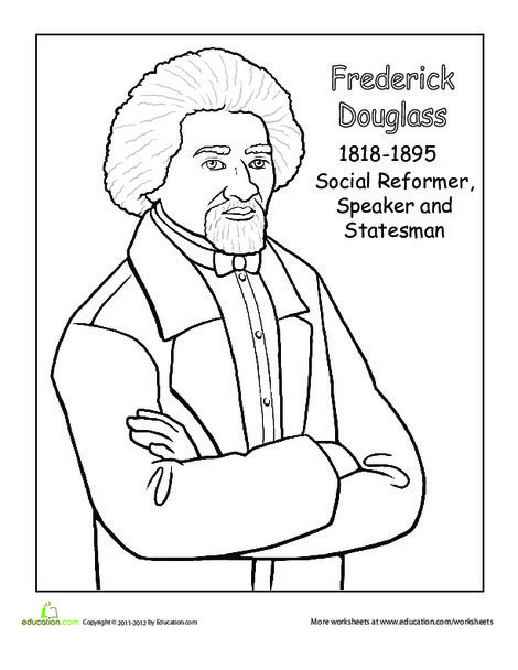 First Grade Social studies Worksheets: Frederick Douglass Coloring Page
