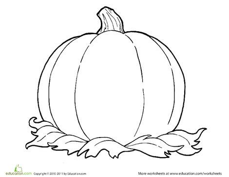 Kindergarten Seasons Worksheets: Coloring Fall:  One Big Pumpkin