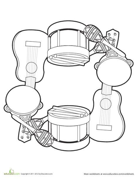 Preschool Fine arts Worksheets: Music Mandala 2
