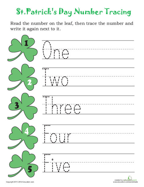 Preschool Reading & Writing Worksheets: Trace St. Patrick's Day Numbers!