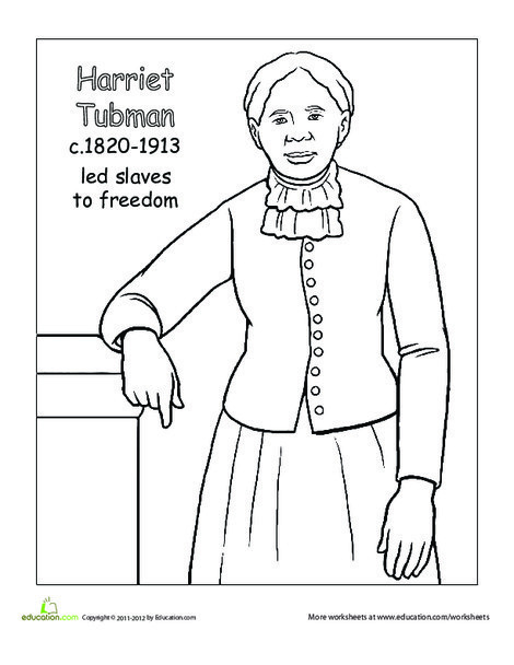 Second Grade Coloring Worksheets: Color Harriet Tubman
